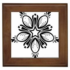 Star Sunflower Flower Floral Black Framed Tiles