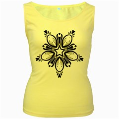 Star Sunflower Flower Floral Black Women s Yellow Tank Top