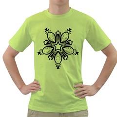 Star Sunflower Flower Floral Black Green T Shirt