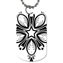 Star Sunflower Flower Floral Black Dog Tag (two Sides)