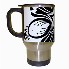 Star Sunflower Flower Floral Black Travel Mugs (white)