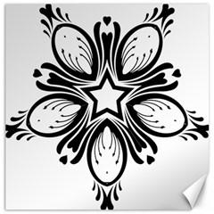 Star Sunflower Flower Floral Black Canvas 20  X 20