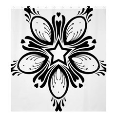 Star Sunflower Flower Floral Black Shower Curtain 66  X 72  (large)