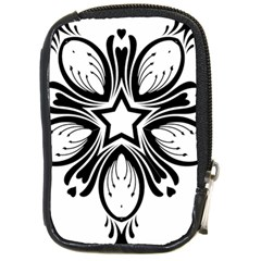 Star Sunflower Flower Floral Black Compact Camera Cases