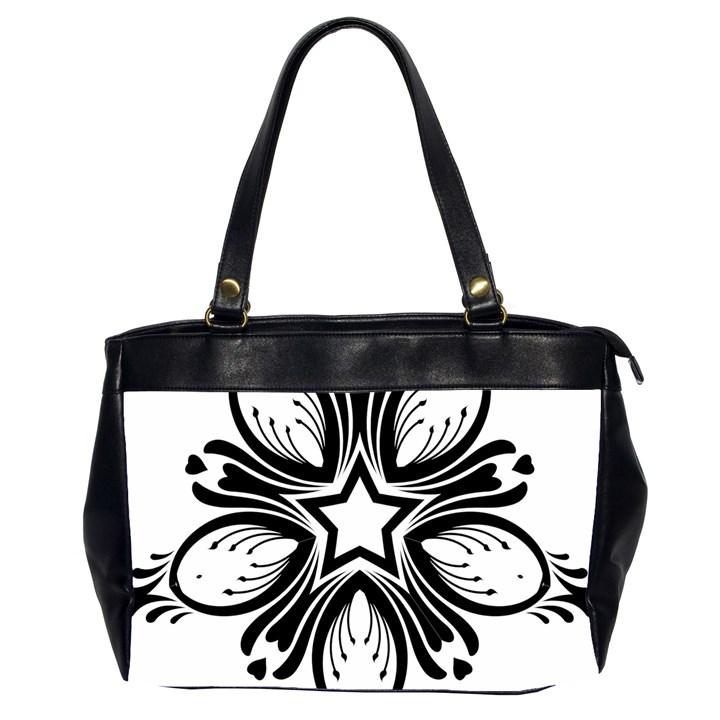 Star Sunflower Flower Floral Black Office Handbags (2 Sides)
