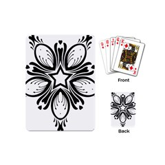Star Sunflower Flower Floral Black Playing Cards (mini)