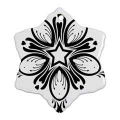 Star Sunflower Flower Floral Black Snowflake Ornament (two Sides)