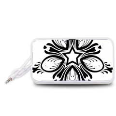 Star Sunflower Flower Floral Black Portable Speaker (white)