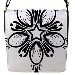 Star Sunflower Flower Floral Black Flap Messenger Bag (s)