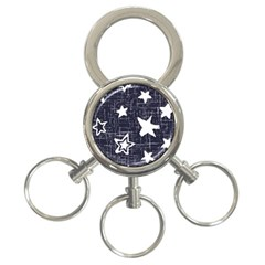 Star Space Line Blue Art Cute Kids 3 Ring Key Chains
