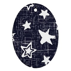 Star Space Line Blue Art Cute Kids Oval Ornament (two Sides)