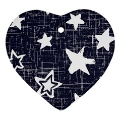 Star Space Line Blue Art Cute Kids Heart Ornament (two Sides)