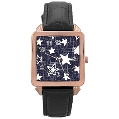 Star Space Line Blue Art Cute Kids Rose Gold Leather Watch