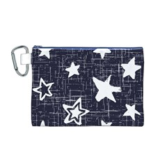 Star Space Line Blue Art Cute Kids Canvas Cosmetic Bag (m)