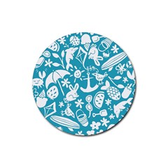 Summer Icons Toss Pattern Rubber Round Coaster (4 Pack)