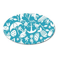 Summer Icons Toss Pattern Oval Magnet