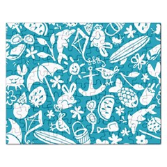 Summer Icons Toss Pattern Rectangular Jigsaw Puzzl