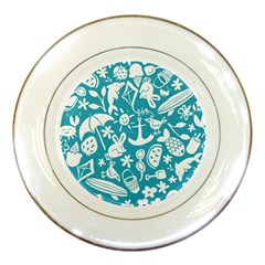 Summer Icons Toss Pattern Porcelain Plates