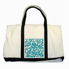 Summer Icons Toss Pattern Two Tone Tote Bag