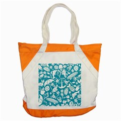 Summer Icons Toss Pattern Accent Tote Bag