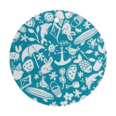 Summer Icons Toss Pattern Round Ornament (two Sides)