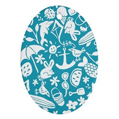 Summer Icons Toss Pattern Oval Ornament (two Sides)