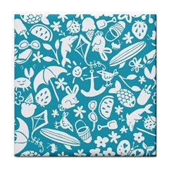 Summer Icons Toss Pattern Face Towel