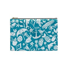 Summer Icons Toss Pattern Cosmetic Bag (medium)
