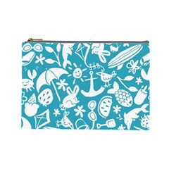 Summer Icons Toss Pattern Cosmetic Bag (large)