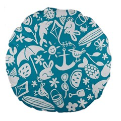 Summer Icons Toss Pattern Large 18  Premium Round Cushions