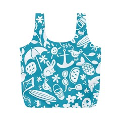 Summer Icons Toss Pattern Full Print Recycle Bags (m)