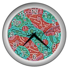 Recursive Coupled Turing Pattern Red Blue Wall Clocks (silver)