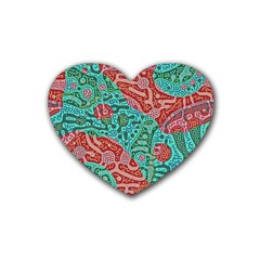 Recursive Coupled Turing Pattern Red Blue Rubber Coaster (heart)