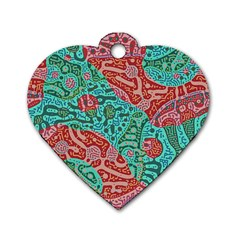 Recursive Coupled Turing Pattern Red Blue Dog Tag Heart (two Sides)