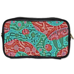Recursive Coupled Turing Pattern Red Blue Toiletries Bags