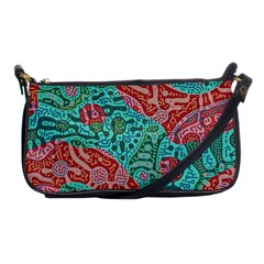 Recursive Coupled Turing Pattern Red Blue Shoulder Clutch Bags