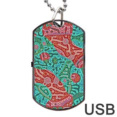 Recursive Coupled Turing Pattern Red Blue Dog Tag Usb Flash (two Sides)