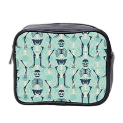Skull Skeleton Repeat Pattern Subtle Rib Cages Bone Monster Halloween Mini Toiletries Bag 2 Side