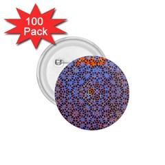 Silk Screen Sound Frequencies Net Blue 1 75  Buttons (100 Pack)