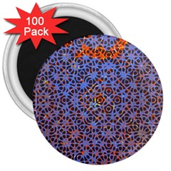 Silk Screen Sound Frequencies Net Blue 3  Magnets (100 Pack)