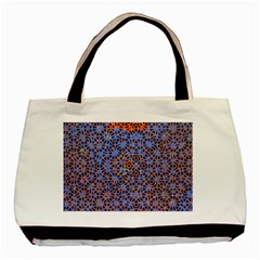 Silk Screen Sound Frequencies Net Blue Basic Tote Bag (two Sides)