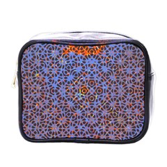 Silk Screen Sound Frequencies Net Blue Mini Toiletries Bags