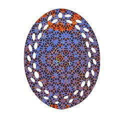 Silk Screen Sound Frequencies Net Blue Oval Filigree Ornament (two Sides)