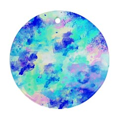 Transparent Colorful Rainbow Blue Paint Sky Ornament (round)