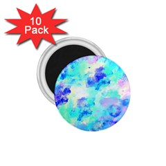 Transparent Colorful Rainbow Blue Paint Sky 1 75  Magnets (10 Pack)