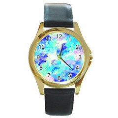 Transparent Colorful Rainbow Blue Paint Sky Round Gold Metal Watch