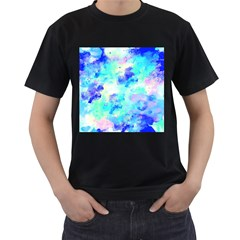 Transparent Colorful Rainbow Blue Paint Sky Men s T Shirt (black) (two Sided)