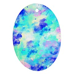 Transparent Colorful Rainbow Blue Paint Sky Oval Ornament (two Sides)