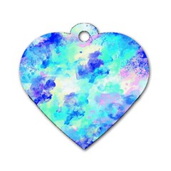 Transparent Colorful Rainbow Blue Paint Sky Dog Tag Heart (one Side)