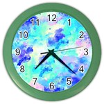 Transparent Colorful Rainbow Blue Paint Sky Color Wall Clocks Front